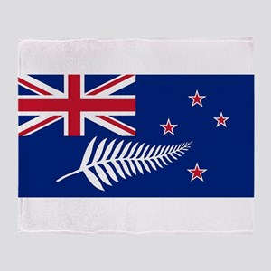 New Zealand Flag With Silver Fern Throw Blanket