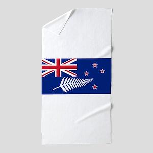 New Zealand Flag With Silver Fern Beach Towel