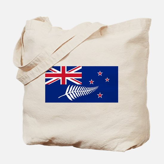 New Zealand Flag With Silver Fern Tote Bag