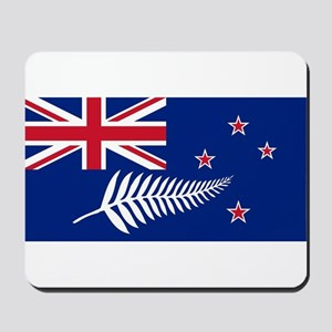 New Zealand Flag With Silver Fern Mousepad