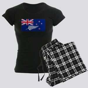 New Zealand Flag With Silver Women's Dark Pajamas
