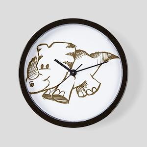 Rhino kid drawing Wall Clock