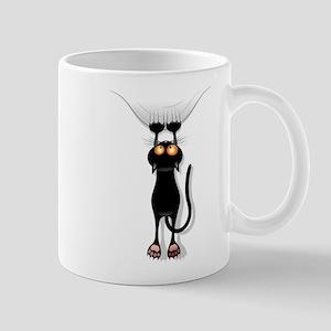 Amusing hanging black cat Mugs