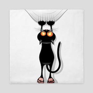 Amusing hanging black cat Queen Duvet