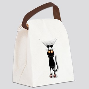 Amusing hanging black cat Canvas Lunch Bag