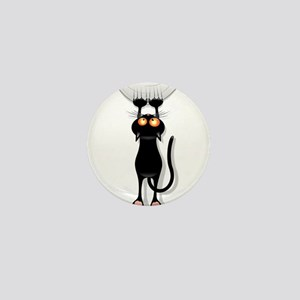 Amusing hanging black cat Mini Button