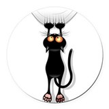 Black cat Round Car Magnets