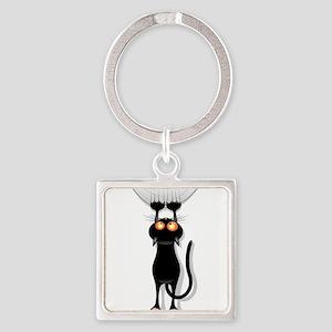 Amusing hanging black cat Keychains
