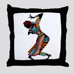 African woman dancing art Throw Pillow