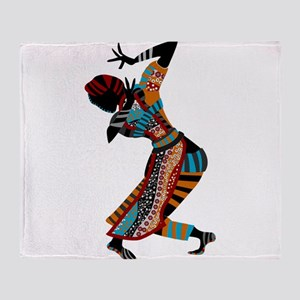 African woman dancing art Throw Blanket
