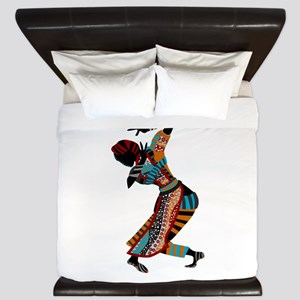 African woman dancing art King Duvet