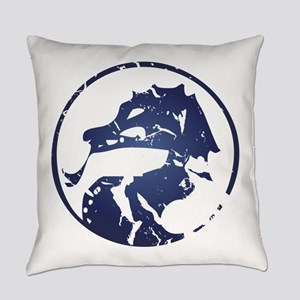 Blue dragon in circle Everyday Pillow