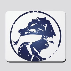 Blue dragon in circle Mousepad