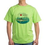 I Love Surfers Green T-Shirt