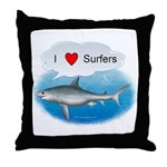 I Love Surfers Throw Pillow