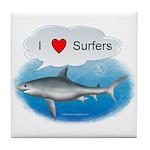 I Love Surfers Tile Coaster