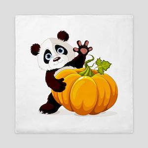 Cute little panda with pumpkin Queen Duvet