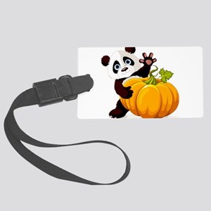 Cute little panda with pumpkin Large Luggage Tag