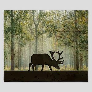 Moose in Forest Illustration King Duvet