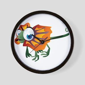 Frilled lizard cartoon Wall Clock