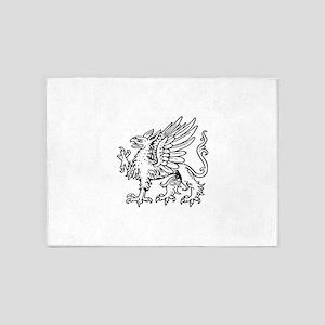 Griffin line art 5'x7'Area Rug