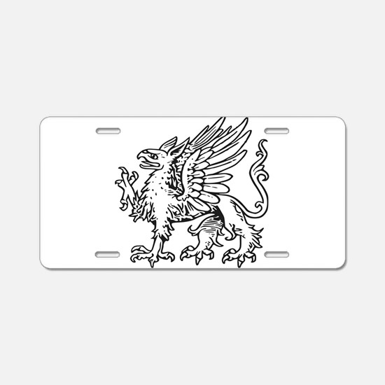 Griffin line art Aluminum License Plate