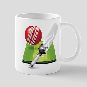 Cricket pitch bat ball Mugs
