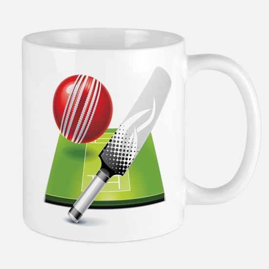 Cricket pitch bat ball Mugs