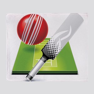 Cricket pitch bat ball Throw Blanket