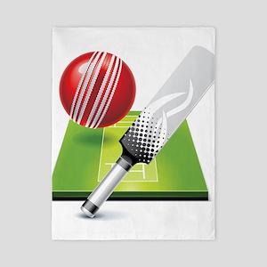 Cricket pitch bat ball Twin Duvet