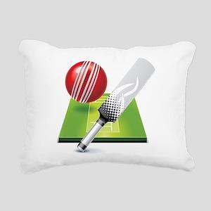 Cricket pitch bat ball Rectangular Canvas Pillow
