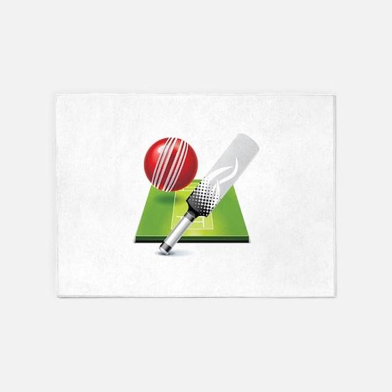 Cricket pitch bat ball 5'x7'Area Rug