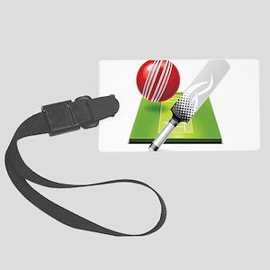 Cricket pitch bat ball Large Luggage Tag