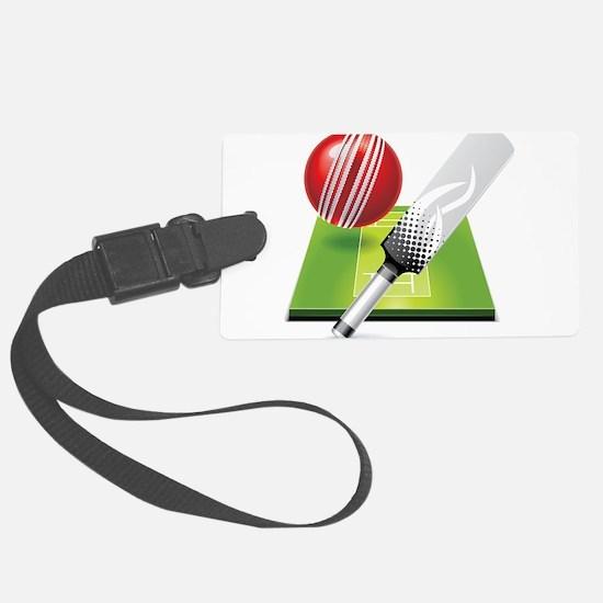 Cricket pitch bat ball Luggage Tag