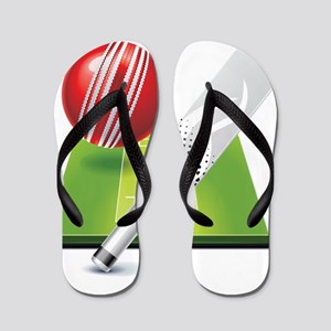 Cricket pitch bat ball Flip Flops