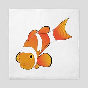 Clownfish graphic art Queen Duvet