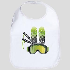 Skiing skies goggles and sticks Bib