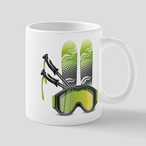 Skiing skies goggles and sticks Mugs