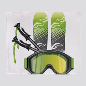 Skiing skies goggles and sticks Throw Blanket