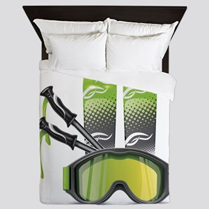 Skiing skies goggles and sticks Queen Duvet