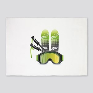 Skiing skies goggles and sticks 5'x7'Area Rug