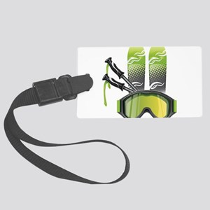 Skiing skies goggles and sticks Large Luggage Tag