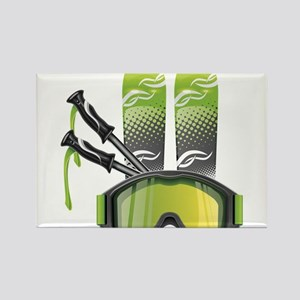 Skiing skies goggles and sticks Magnets
