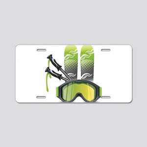 Skiing skies goggles and st Aluminum License Plate