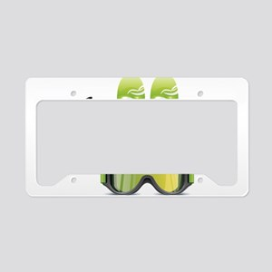 Skiing skies goggles and stic License Plate Holder