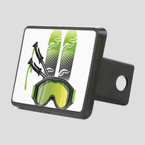 Skiing skies goggles and s Rectangular Hitch Cover