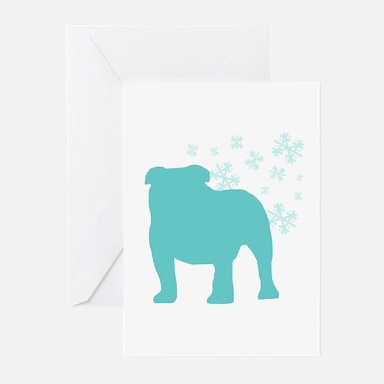 Bulldog Snowflake Greeting Cards (Pk of 10)
