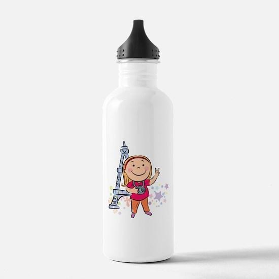 Kid cartoon at Eiffel Water Bottle