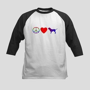 Peace Love Dogue de Bordeaux Kids Baseball Jersey