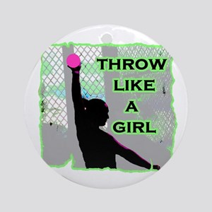 Throw like a girl shotput Round Ornament